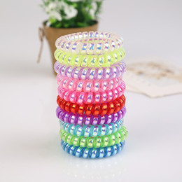 Wholesale metal rubber band hair - hairband hair bands rope elastic telephone wire spring design for Women girl Hair Accessories headwear holder shiny metal colorful