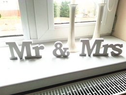 Wholesale Signs Decor - Hot Wedding Reception Sign Solid Wooden Letters Mr & Mrs Table Centrepiece Decor Wedding Decoration White Wedding Sign Top Table Sign Plaque