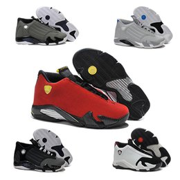 Wholesale Cheap Shoot - 2016 cheap air retro 14 men Basketball Shoes Last shot Black toe Retro gs Red suede Sports Sneakers Shoes retro 14 Athletics Boots