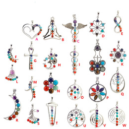 gemstone crosses wholesale Coupons - Seven Chakra Reiki Gemstone Healing Beads Infinity Heart Moon Angel Cross Pendant With Natural Stone Crystal For Women Men DIY Charms