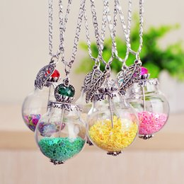 Wholesale Sphere Charm - Colorful Little Stars Inside The Glass Ball Spheres Fresh Style Wishing Bottle Pendant Necklace Sweater Chain