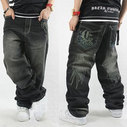 Wholesale Hip Ad - Wholesale-Black baggy style jeans hip-hop casual pants loose hip hop jeans for man and boy ad denim trousers plus size 30-42