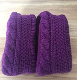 Wholesale Purple Cuffs - free shipping new high knitted snowflake wool flag chunky cable cuff fleece welly socks welsock for tall rainboots