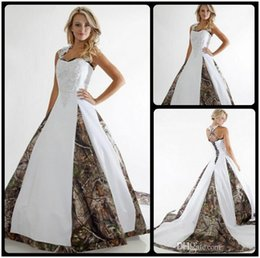 Wholesale Camouflage Long Skirts - 2016 Vintage Camo Wedding Dress Lace Straps Criss Cross Sleeveless White Camouflage Ball Gown Bridal Dress Chapel Train Custom Made Cheap