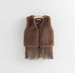 Wholesale Kids Winter Coats Girls Cheap - Girl PU fringed vest 3 colors cheap baby warm coat aged 2-7 2016 kids autumn & winter fashion vest factory direct 5pcs S3