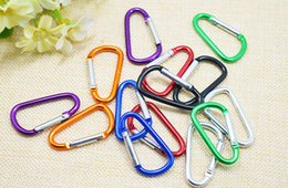 Wholesale D Ring Climbing Carabiner - Wholesale--5cm D shaped Aluminium alloy carabiner key ring for outdoor 500pcs lot Free shipping
