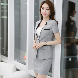 Wholesale Skinny Skirts - One button Fromal Casual Suits Women Uniform Business Coat with Skirt free shipping Gray Black Blazers DK813F Free Shipping Dropship