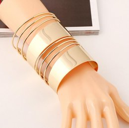 Wholesale Cheap Stainless Steel Letters - TOP Sale Christmas gift Cheap jewellery big Smooth cuff wide bangle Bracelet gold bohemian Statement Bangles Letter bracelet bangle