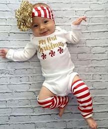 Wholesale Infant Foot Straps - Fashion New Born Babies Clothes Autumn Christmas Rompers 3pcs Sets My First Christmas Romper + Hair band + Foot Straps Infant Sets Cute 9496