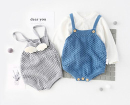 Wholesale Wholesale Little Girl Rompers - INS new arrivals fall baby kids climbing romper 100% cotton little angle wing sweater romper girl boy kids romper kids autumn rompers 0-2T