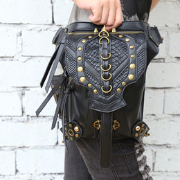Wholesale Vintage Leather Waist Belt - New Designer Women Vintage Waist Bag Black Pu Leather Waist Pack Punk Rivet Leg Bag Victorian Belt Bag