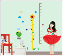 Wholesale Daisies Wall Stickers - New Cartoon Kids Daisy Frog Growth Chart Height Measure For Home Kids Rooms DIY Decoration Wall Stickers art wall mirror sticker