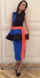 Wholesale Block Peplum Dress - Novelty Color Block Women Sheath Dress Ruffles Peplum Celebrity Dresses 08H0017