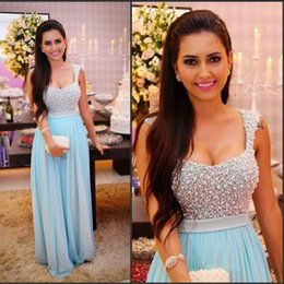 Wholesale Sexy Party Coctail Dresses - Fashion light blue luxury prom dress 2016 scoop crysatl beaded pearls women pageant gown for formal coctail party