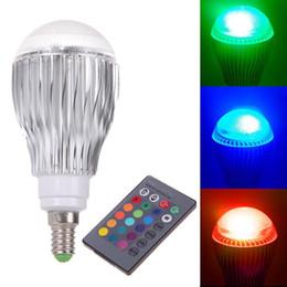 Wholesale Highest Power Rgb E27 9w - New 9W E14 RGB High Power LED Light Bulb Lamp with Wireless Remote Control E5M1 order<$18no track