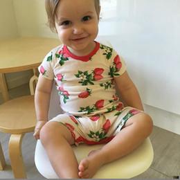 Wholesale Strawberry Cotton Shirts - 2017 Newborn Baby Infant Toddler Cotton Onesies Romper Girl Boy Children Strawberry Short T-Shirt Bodysuit Jumpsuit Sleepwear Romper Outfits