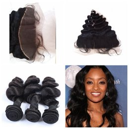 Wholesale brizilian hair weave - Brazilian Lace Frontal Closure With Bundles loose Wave Full Frontal Lace Closure 13x4 Free Part With Brizilian Human Hair Weave G-EASY