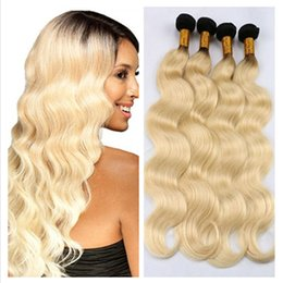 Wholesale 22 Platinum Blonde Extensions - 8A Peruvian 1b 613 blonde ombre human hair extensions two tone color platinum blonde ombre peruvian wavy hair weave weft 4 bundles