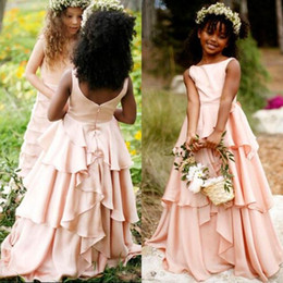 Wholesale Party Chiffon Dresses For Teens - 2016 Blush Pink Flower Girl Dresses for Weddings Bateau Neck Sleeveless Tiered Long Full Length Kids Wedding Party Formal Wear Teen Gowns