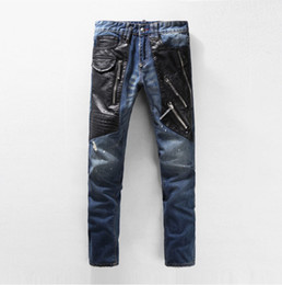 Wholesale Men S Blue Leather Pants - Wholesale-NWT New Fashion Italy Men's Runway PU Leather Patchwork Washed Denim Cool Jeans Moustache Effect biker Jeans Plus Size 28-38