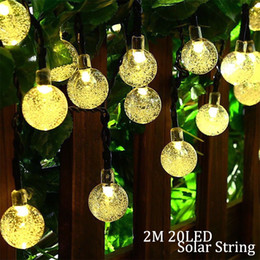 2019 fiesta cuerdas frutas Lámpara solar 4.8M 20LEDs Bola de cristal a prueba de agua solar al aire libre led string Colorido blanco cálido luz de hadas Jardín Decoración