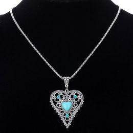 Wholesale Tibetan Design Pendant - Vintage Women Love Heart Natural Turquoise Crystal Pendants Design Tibetan Silver Chain Jewelry Lady Pendant Necklaces Accessories Jewellry