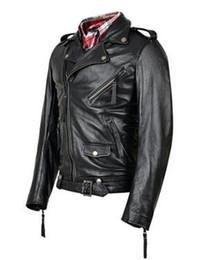 Wholesale Brand Folder - Brand new leather men's winter fashion large lapel oblique zipper locomotive folder kepi belt coat   S-3XL
