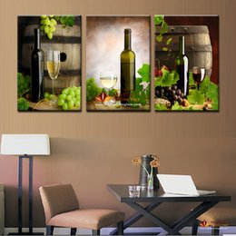 Wholesale Canvas Wine Decor - Large Wall Art Painting 3 Panels Modern Abstract Art Grape Wine Still Life Digital Picture Print on Canvas for Restaurant Decor