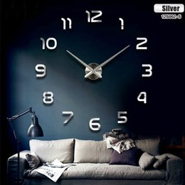Wholesale Size Wall Big - Fashion 3D Big Size Wall Clock Mirror Sticker DIY Brief Living Room Decor Metting Room Wall Clock
