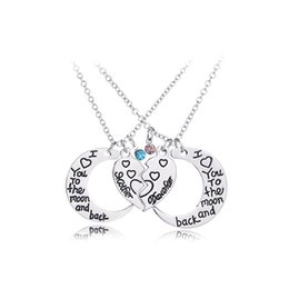 Wholesale Moms Christmas Gifts - Fashion Pink blue Mom daughter Crystal broken Heart Necklace&Pendants Big Litter Sister moon Jewelry for Family Gifts love you to the moon