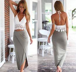 Wholesale Dress Women Pants Sets - 2017 Women Summer Maxi Dress 2 piece set women Fashion Sleeveless vest Sexy Lace Two-piece dresses suits