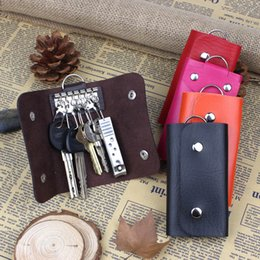Wholesale Mens Car Key Wallets - Hot Women Mens Key Wallets PU Leather Keychain Keys Case Candy Colored Car Keychains Holders Organizers Bags