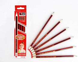 Wholesale Packaging Eraser - school and office supplies HB pencil with eraser lapices pencils lapiz 120pcs package frozen red black stripes pencils