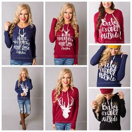 Wholesale Cotton Christmas Jumpers - Christmas Jackets Letter Hoodies Women Casual Coat Long Sleeve Sweatshirts Hot Blouses Pullover Outwear Jumper 10pcs OOA3035