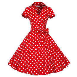 Wholesale Vintage Women Dresses Dots Rockabilly - 50S 60S Audrey Hepburn Dress 2015 New Women Long Sleeve Polka Dot Bowknot Big Swing Dress Retro Vintage Rockabilly Mini Dress