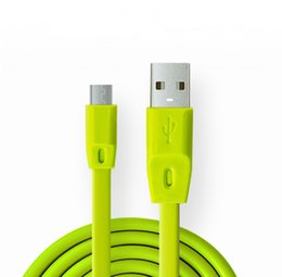 Wholesale Port Green - 3FT 1M Soft TPE Lengthen Micro USB Port Data Sync Flat Charge Charging Cable For S6 HTC M10 Sony android phone GSCP1012
