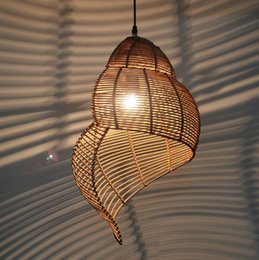 Wholesale Wood Ceiling Lamps - Bamboo weaving Ceiling lamp Wood Droplight Conch pendant lamp LED Pendant Light Bedroom Chandeliers LivingRoom Dining Room Corridor coffee