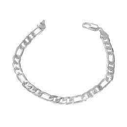 Wholesale Silver Chain 925 Set Figaro - 6MM Figaro Chain Link Bracelet 925 Sterling Silver Plated Jewelry Fashion Flat Bracelet Men Women Accessories Eco-friend Jewelry Beauty Gift