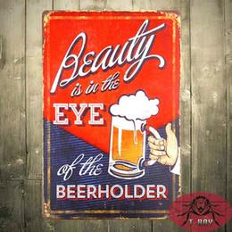 Wholesale Beer Advertising Signs - Beauty Eye Beer Holder Funny Bar Bottle Drink Vintage Advertising Tin Sign 160909#