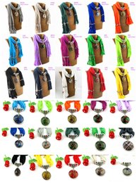 Wholesale Scarf Collar Pendant - 2016 New Arrival tassel pendant Scarves Fashion drip mix colour accessories Ms. Scarf shawl collar jewelry Womens Necklace Scarves 180*40