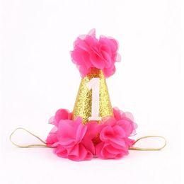 Wholesale Girls Birthday Party Cakes - Fashion 1st Brithday hat ,Fushia Glitter first birthday Party Hat ,Cake Smash ,Flower birthday girls hat,Baby Girls Gold Crown