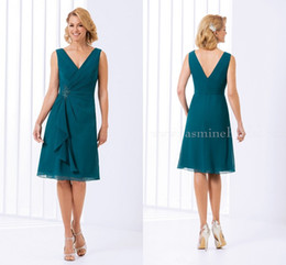 Wholesale Teal Chiffon Knee Length Dress - 2017 Green Teal Mother Of The Bride Dresses Jasmine V Neck Short Knee Length Chiffon Formal Evening Prom Dress Wedding Party