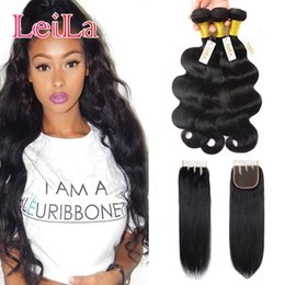 Wholesale Buy Remy Human Hair - Brazilian Hair 3 Bundles with Lace closure 4pieces Unprocessed Human Hair Remy Hair Weaves Body Wavy Buy bundels Get Closure