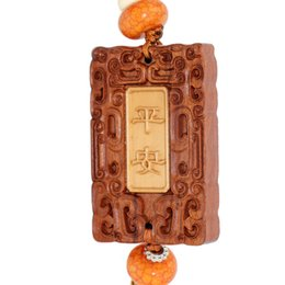 Wholesale Wooden Car Pendant - Purple Tan Car Pendant Jewelry Wood Carving Car Ornaments Sandalwood Home Talismans Wooden Car Hanging Amulet Interior Decorations SPXM0008