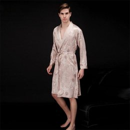 Wholesale Sexy Onesies For Adults - Wholesale-Men Bathrobes Printing Sleeprobes For Men Sexy Sleepwear Male Kimono Silk Adult Casual Home Clothing Nightwear