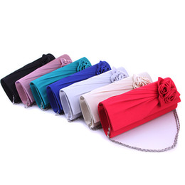 Wholesale White Bow Wedding Bag - Candy Color Women Satin Bridesmaid Wedding Handbag Rose Flower Ruched Clutch Purse Banquet Party Evening Bags With Chain
