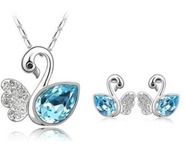 Wholesale Swan Necklace Jewelry - Cute 18K White Gold Plated Ausrtrian Crystal Swan Necklace Earrings Jewelry Sets for Women Made With Swarovski Elements Wedding Jewelry Set