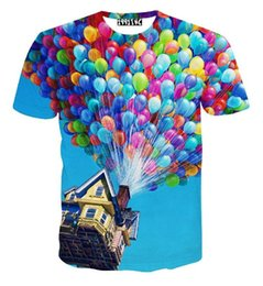 Wholesale Balloon Shorts - Newest style women men summer funny t shirts tees 3d cartoon Flying Pixar t shirt Colorful balloons graphic t shirt camisetas