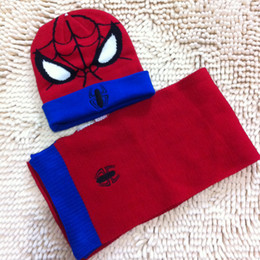 Wholesale Spiderman Embroidered - Hot selling acrylic kintted kids boys spiderman embroidery winter scarf and beanie sets 1set retail factory selling directly l