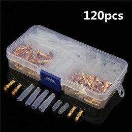 Wholesale Male Bullet Connectors - 120pcs Brass Bullet 3.5mm Connector Terminal Male and Female with Insulated Cover